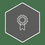 White ribbon depicting warranty on a grey background