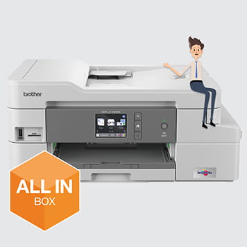 All in box character resting on printer
