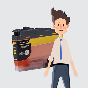 All in box character standing in front of transparent ink cartridge LC3235XLY