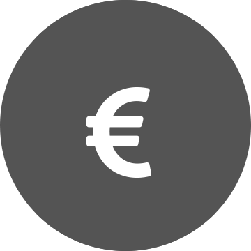 White euro symbol on a grey circle background