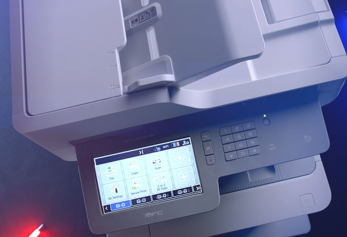Brother MFC-L9570CDW professional colour A4 laser multifunction printer with icons on touchsceen