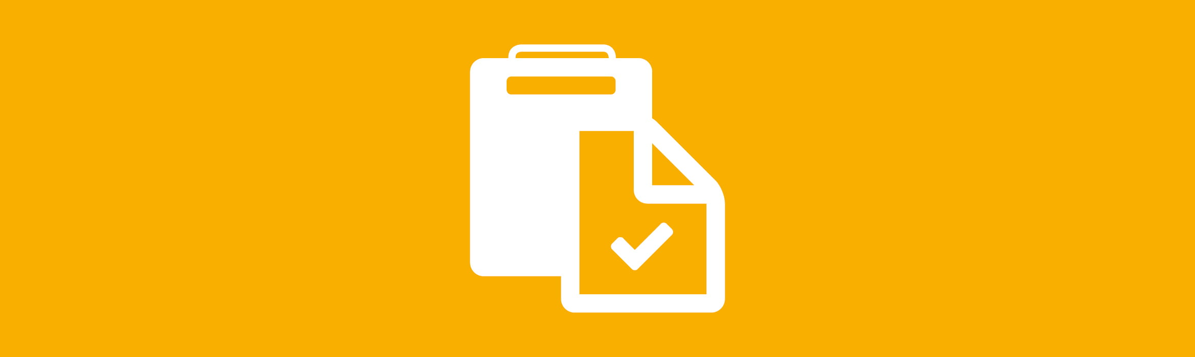 white clipboard icon against an amber background