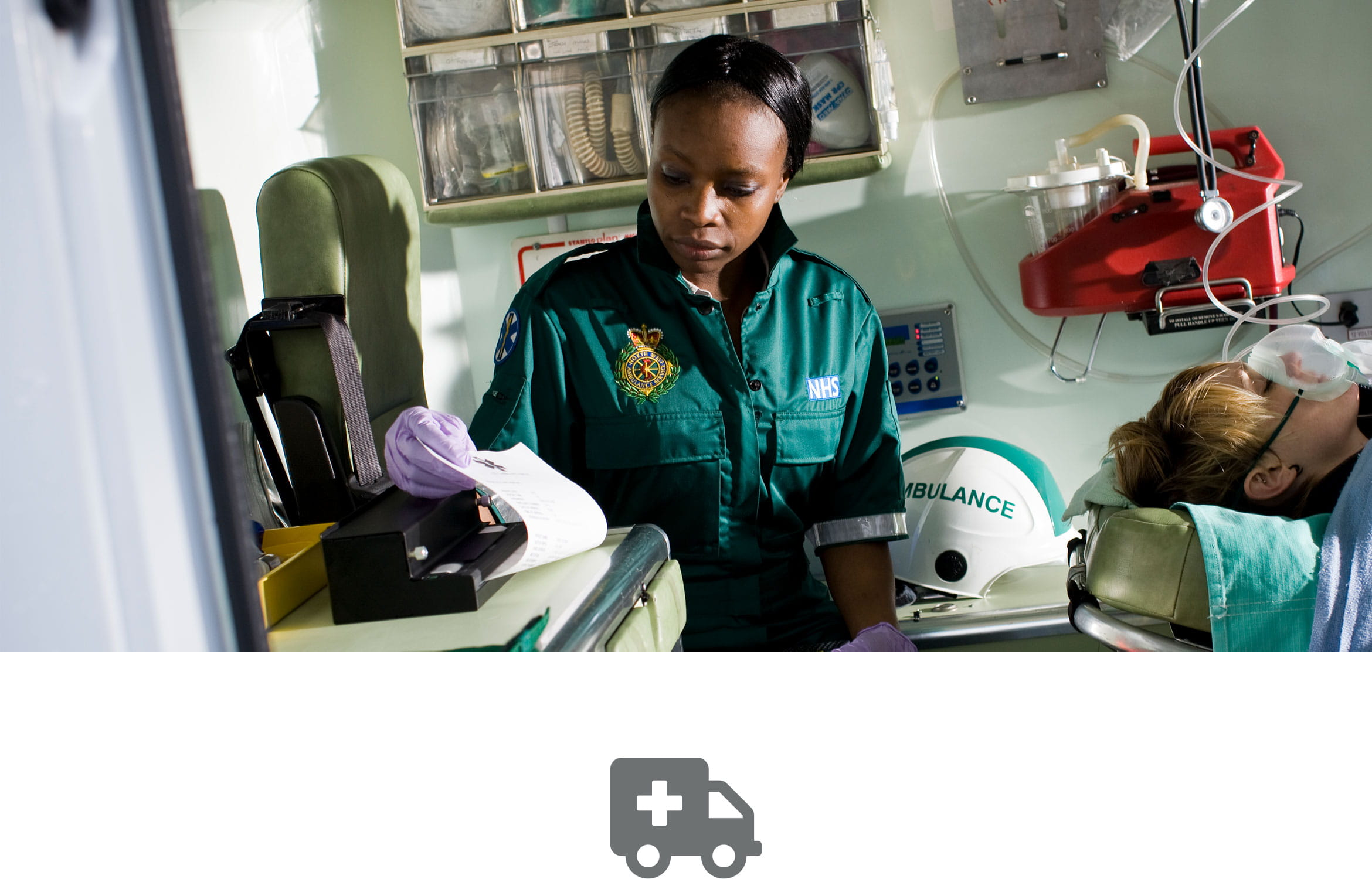 Patient record being printed on a PJ Brother portable printer by an paramedic in ambulance