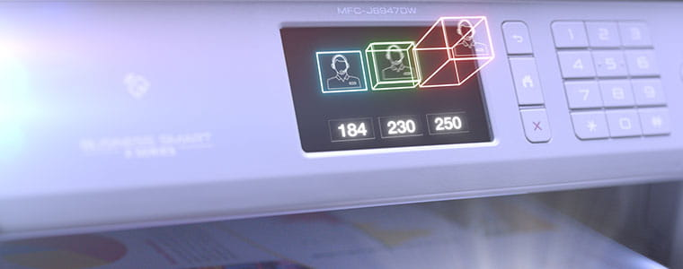 Brother MFC-J6947DW professional A3 and A4 inkjet printer with icons jumpring out from touchscreen