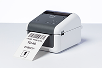 Brother TD-4420DN network desktop label printer printing label with barcode