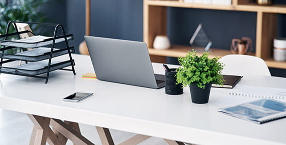 image of a desk with laptop, desk organiser and plant