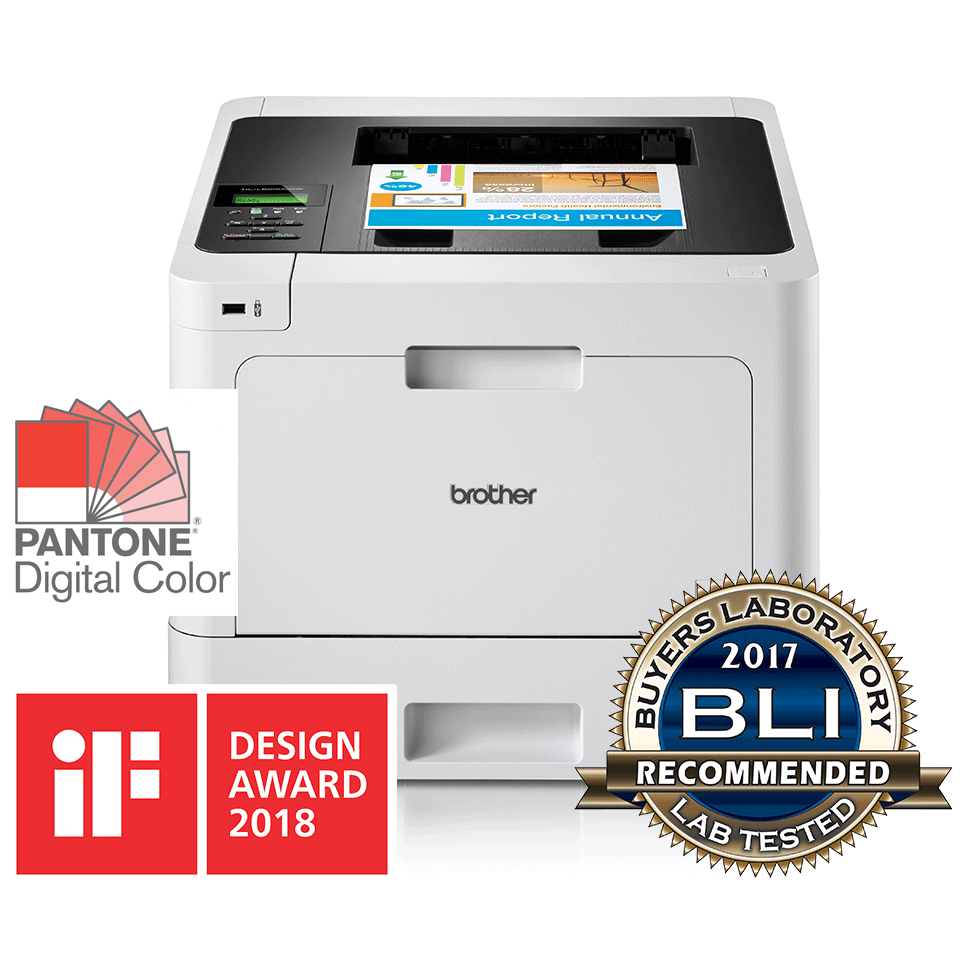 Brother HL-L8260CDW colour laser printer with BLI, IF, Pantone logos