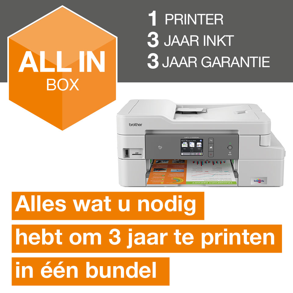 Draadloze inkjetprinter MFC-J1300DW All-in-Box bundel