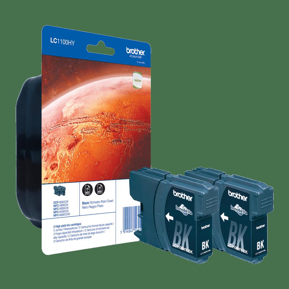 Originele Brother LC-1100HYBKBP2 zwarte inktcartridge met hoge capaciteit voordeelverpakking met 2 cartridges
