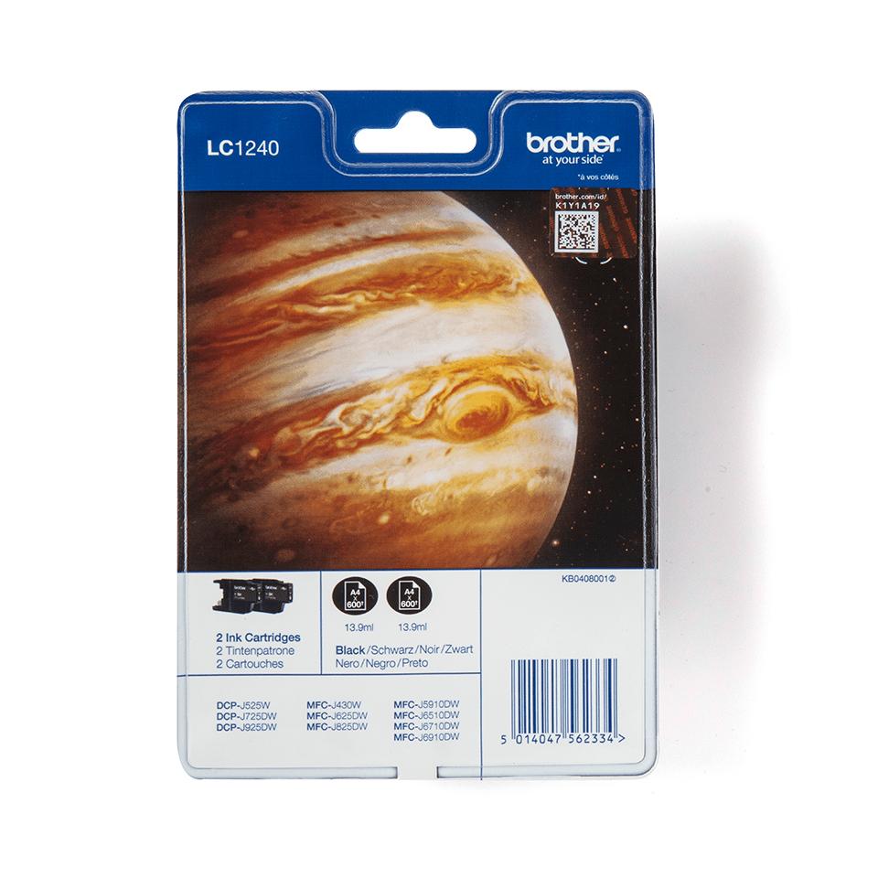 Originele Brother LC-1240BKBP2 zwarte inktcartridge voordeelverpakking met 2 cartridges