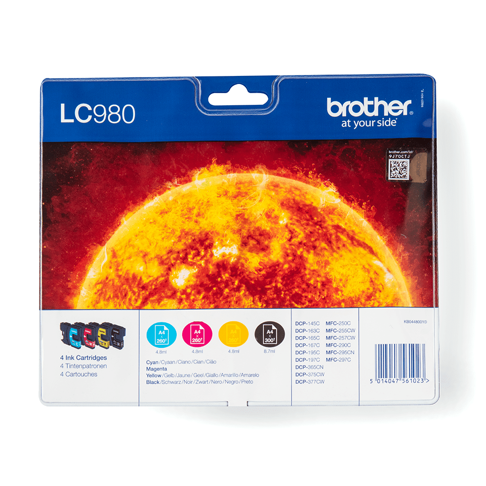 Originele Brother LC-980VALBP inktcartridge voordeelverpakking.