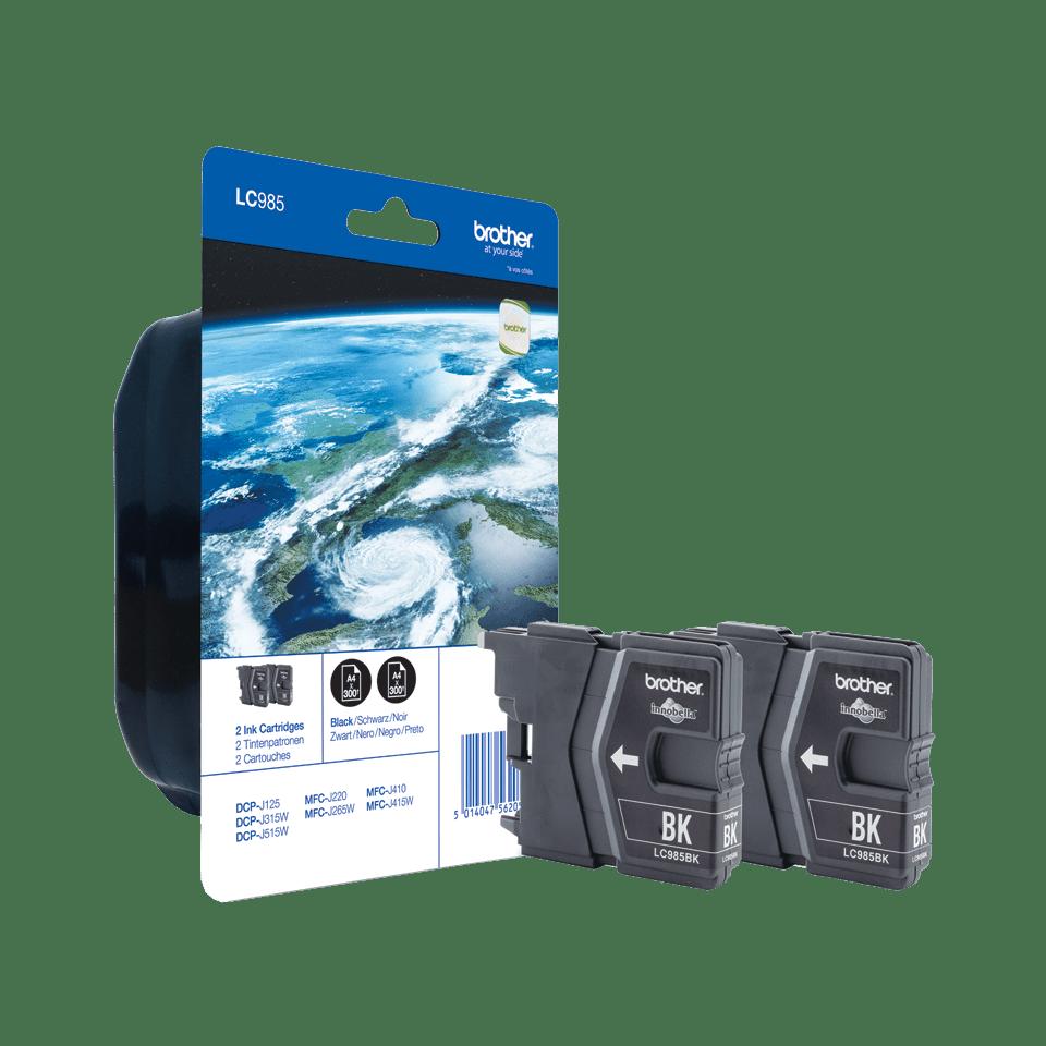 Originele Brother LC-985BKBP2 zwarte inktcartridge voordeelverpakking met 2 cartridges.