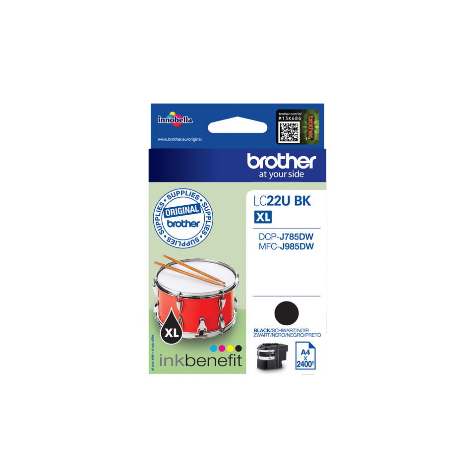 Originele Brother LC-22UBK zwarte inktcartridge 2