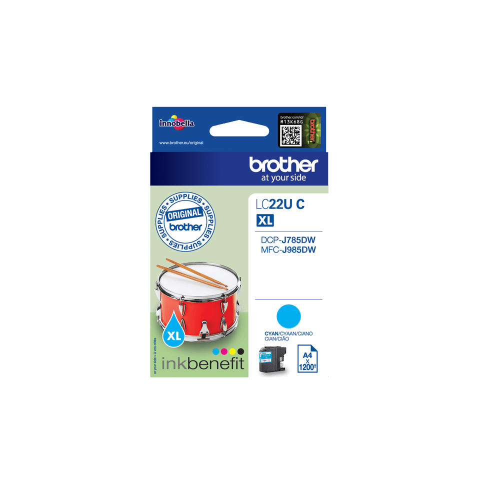 Originele Brother LC-22UC cyaan inktcartridge 2