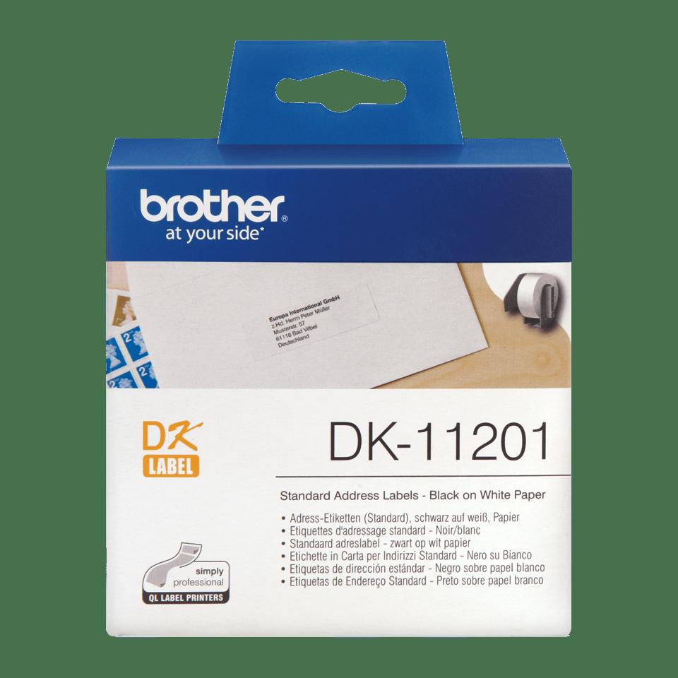 Originele Brother DK-11201 voorgestanst standaard adreslabel – papier -zwart op wit, 29 mm x 90 mm