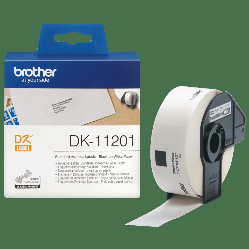 Originele Brother DK-11201 voorgestanst standaard adreslabel – papier -zwart op wit, 29 mm x 90 mm 3