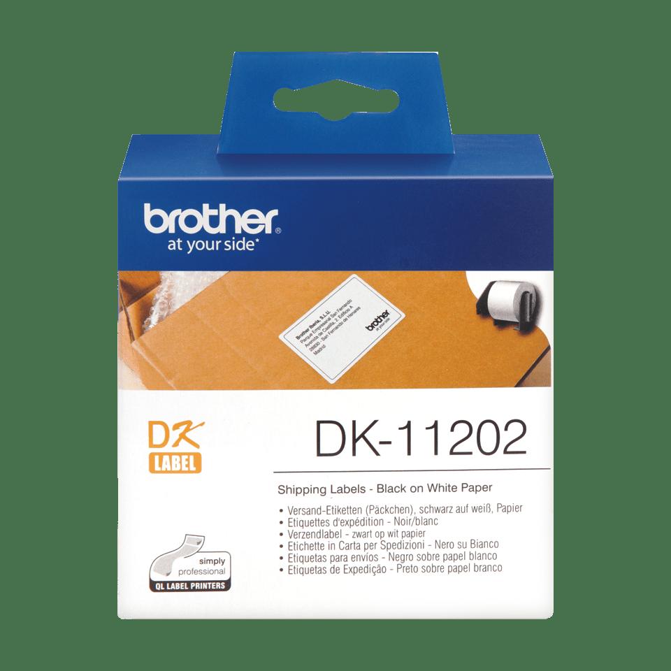 Originele Brother DK-11202 voorgestanst verzendlabel – papier - zwart op wit, 62mm x 100mm