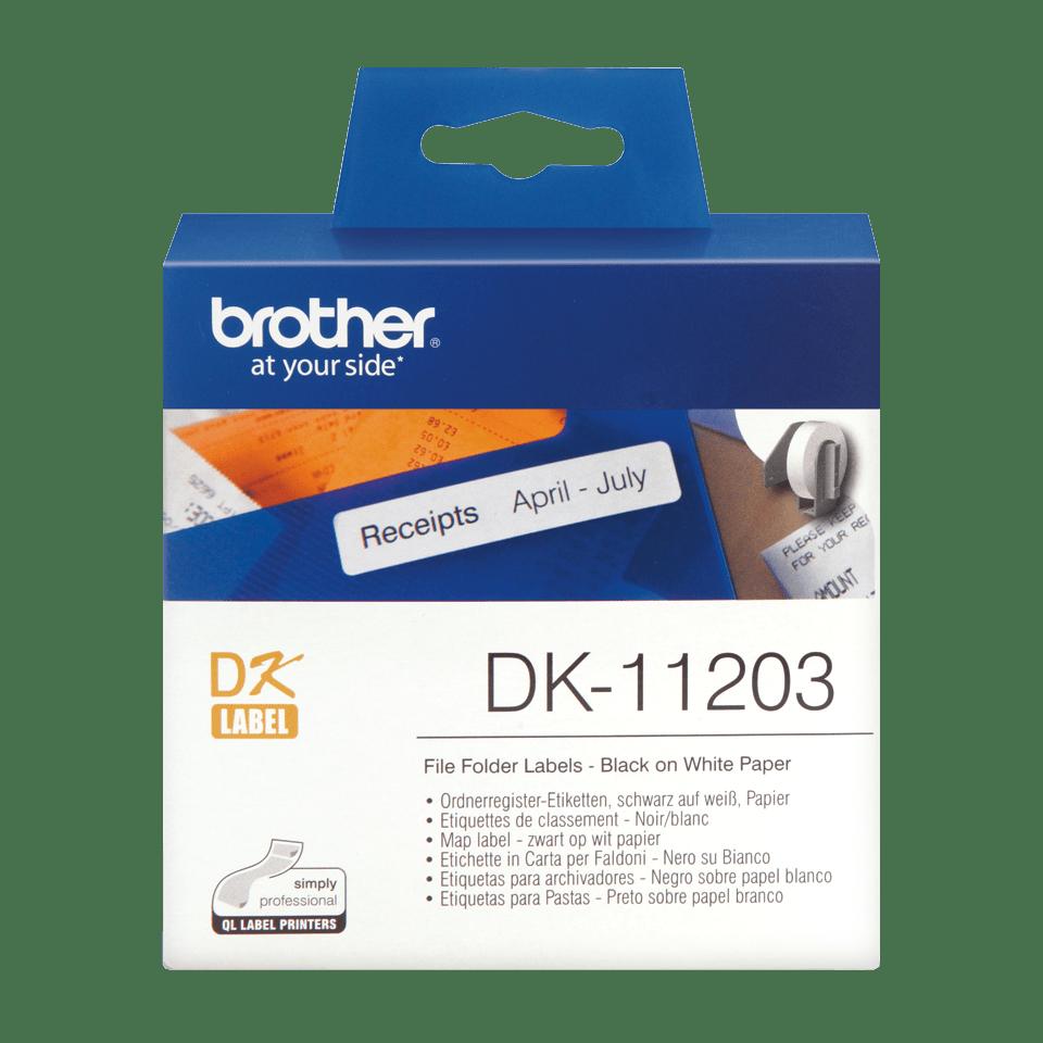 Originele Brother DK-11203 voorgestanst map label - papier – zwart op wit, 17 mm x 87 mm