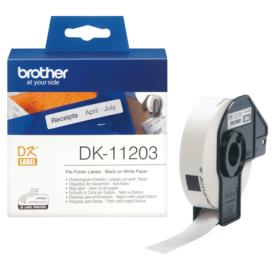 Originele Brother DK-11203 voorgestanst map label - papier – zwart op wit, 17 mm x 87 mm 3