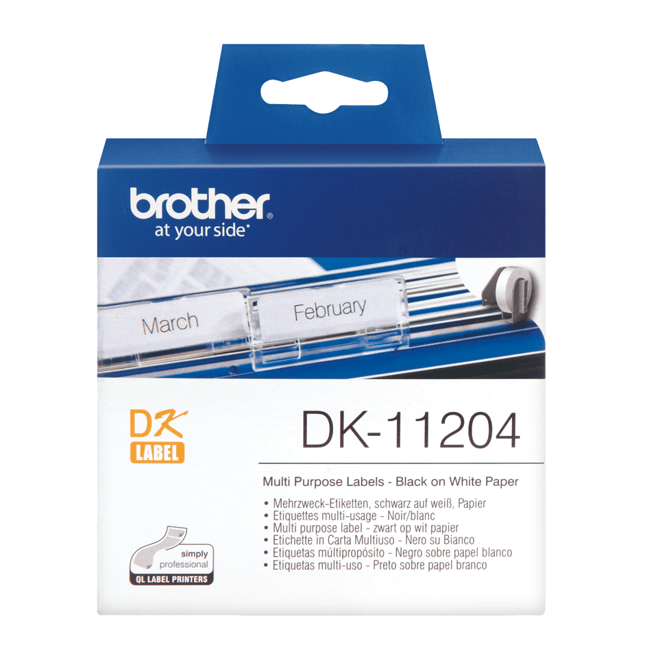 Originele Brother DK-11204 voorgestanst multi purpose label – zwart op wit, 17 mm x 54 mm