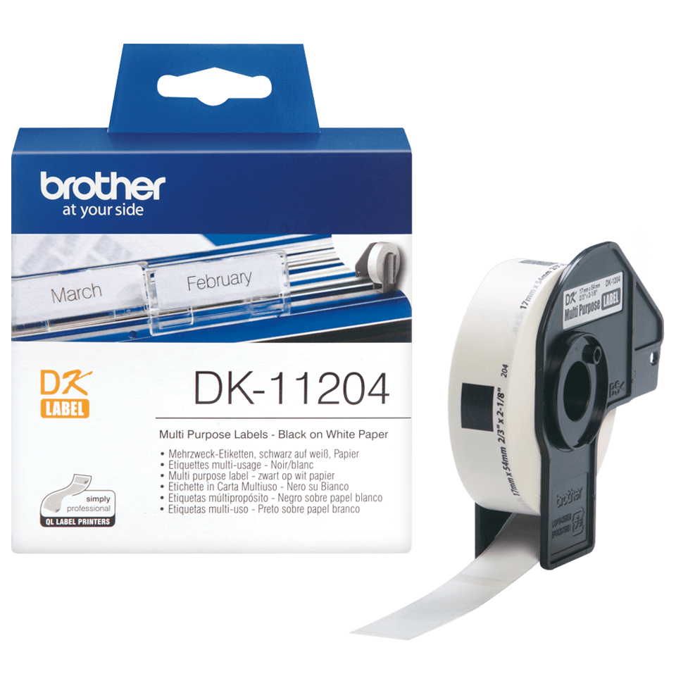 Originele Brother DK-11204 voorgestanst multi purpose label – zwart op wit, 17 mm x 54 mm 3