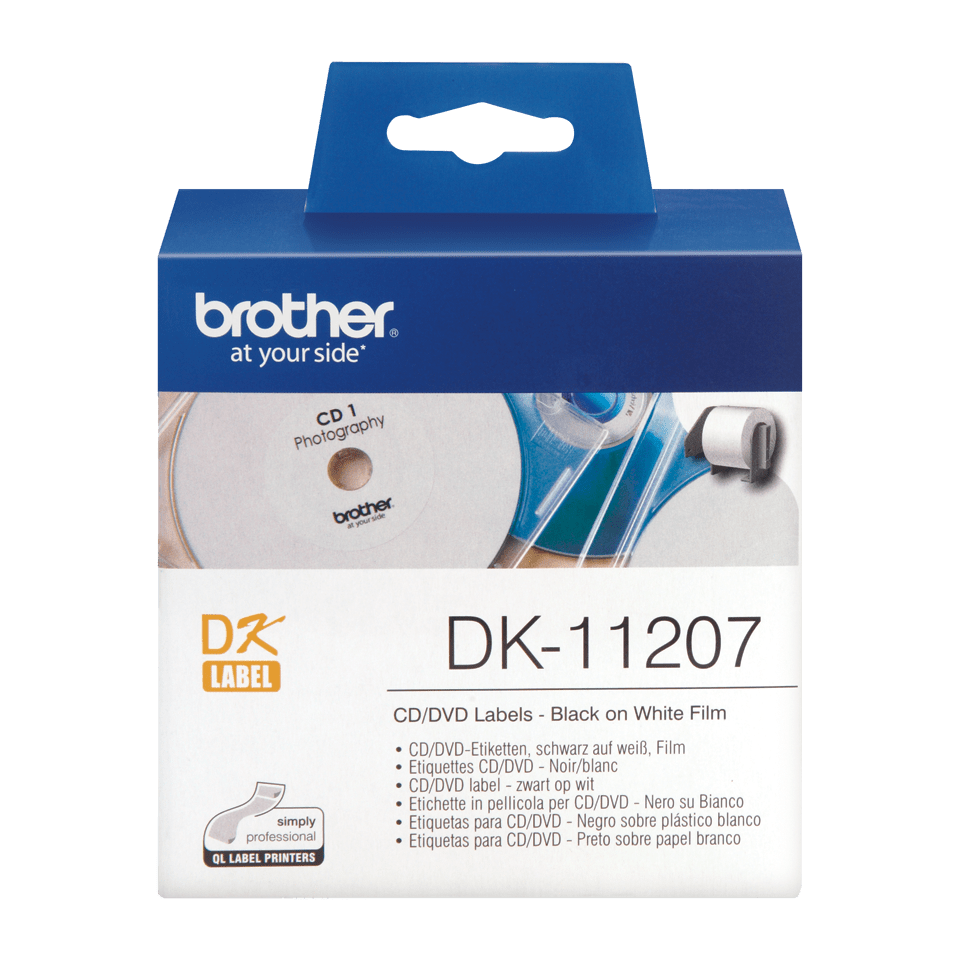 Originele Brother DK-11207 voorgestanst cd/dvd label – film - zwart op wit - diameter 58 mm.
