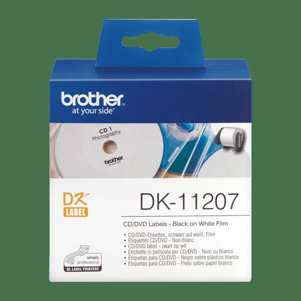 Originele Brother DK-11207 voorgestanst cd/dvd label – film - zwart op wit - diameter 58 mm.
