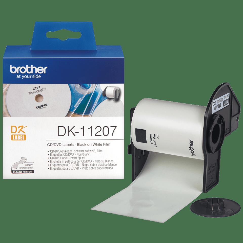 Originele Brother DK-11207 voorgestanst cd/dvd label – film - zwart op wit - diameter 58 mm. 3