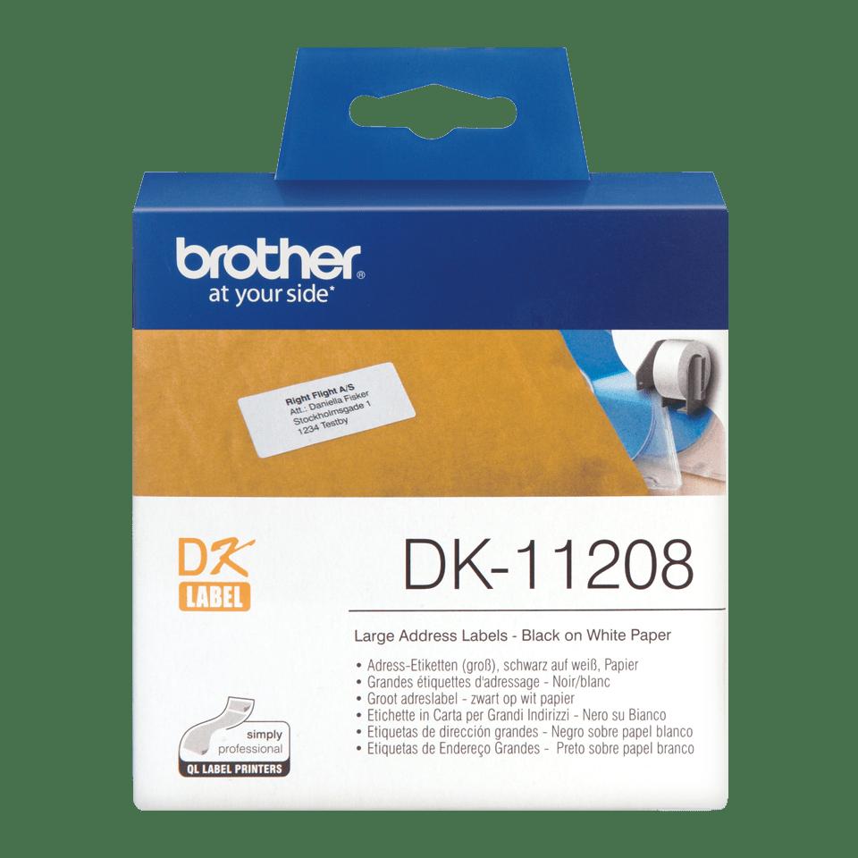 Originele Brother DK-11208 voorstanst groot adreslabel – papier - zwart op wit, 38 mm x 90 mm