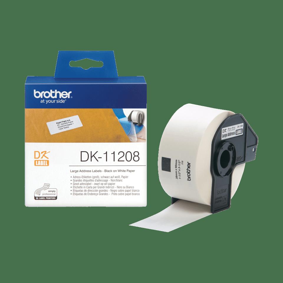 Originele Brother DK-11208 voorstanst groot adreslabel – papier - zwart op wit, 38 mm x 90 mm 3
