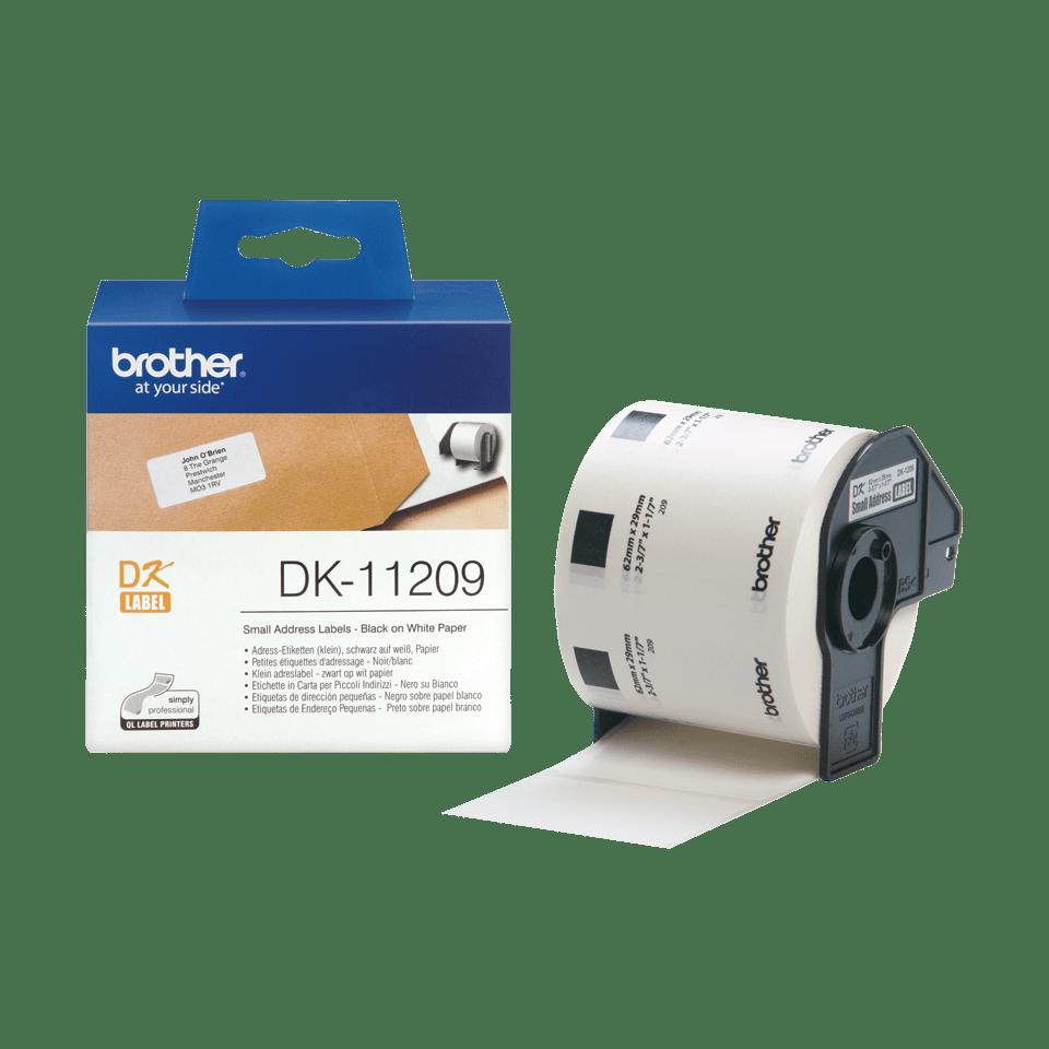 Originele Brother DK-11209 voorgestanst klein adreslabel – zwart op wit, 62 mm x 29 mm 3