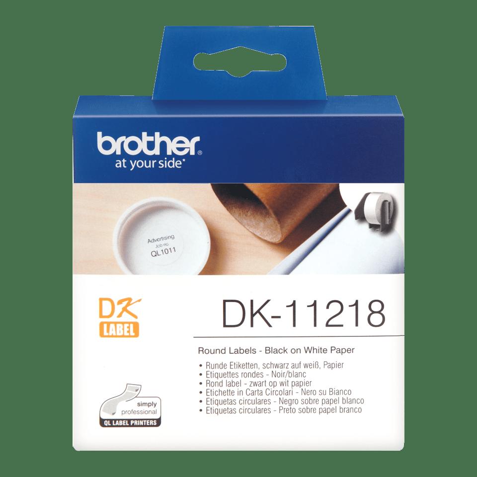 Originele Brother DK-11218 voorgestanst rond label – papier - zwart op wit, diameter 24 mm
