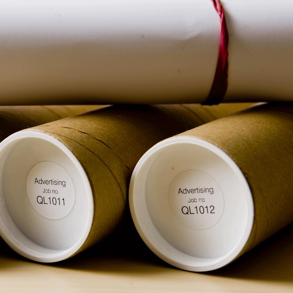 Originele Brother DK-11218 voorgestanst rond label – papier - zwart op wit, diameter 24 mm 2