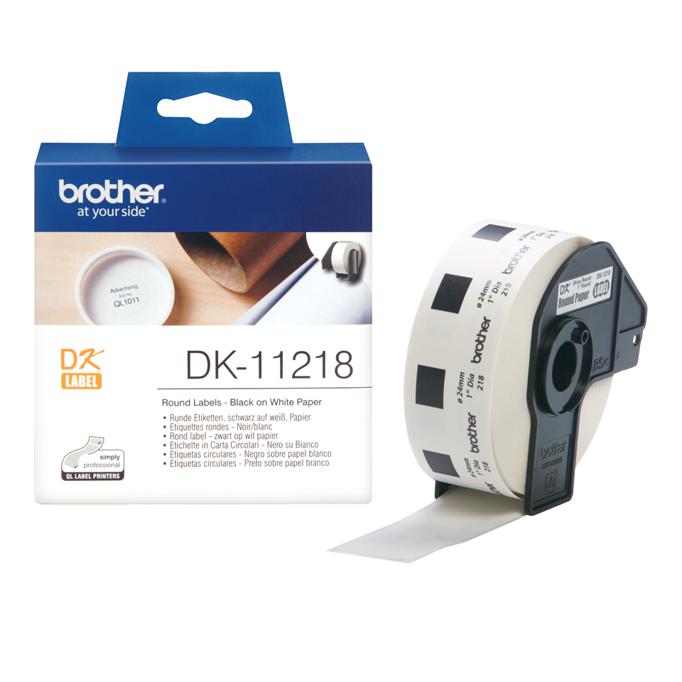 Originele Brother DK-11218 voorgestanst rond label – papier - zwart op wit, diameter 24 mm 3