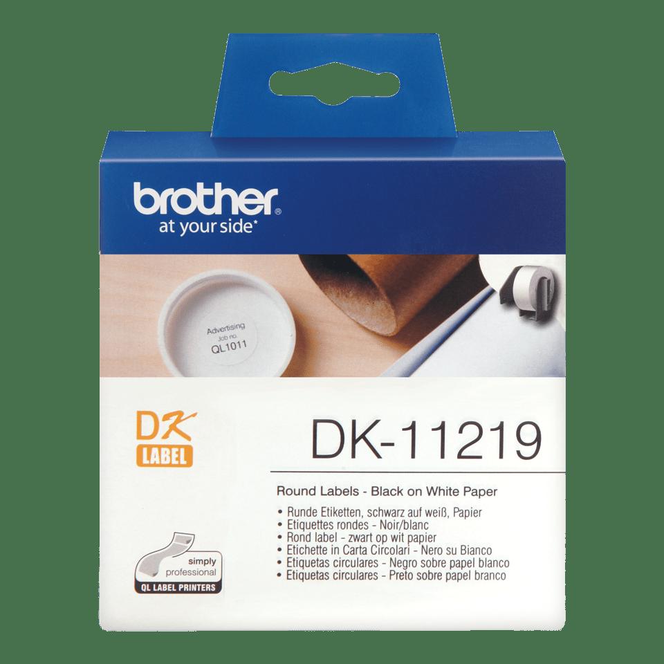 Originele Brother DK-11219 labelrol – zwart op wit, diameter 12 mm
