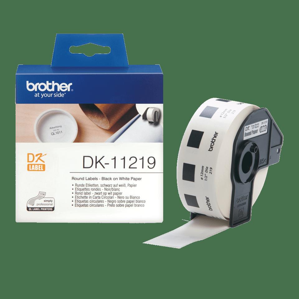 Originele Brother DK-11219 labelrol – zwart op wit, diameter 12 mm 3