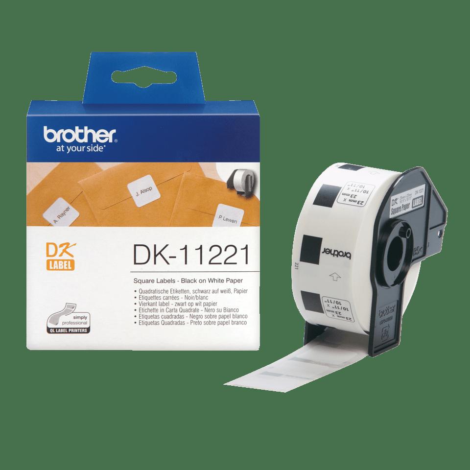 Originele Brother DK-11221 voorgestanst vierkant label - papier - zwart op wit, 23 mm x 23 mm 3