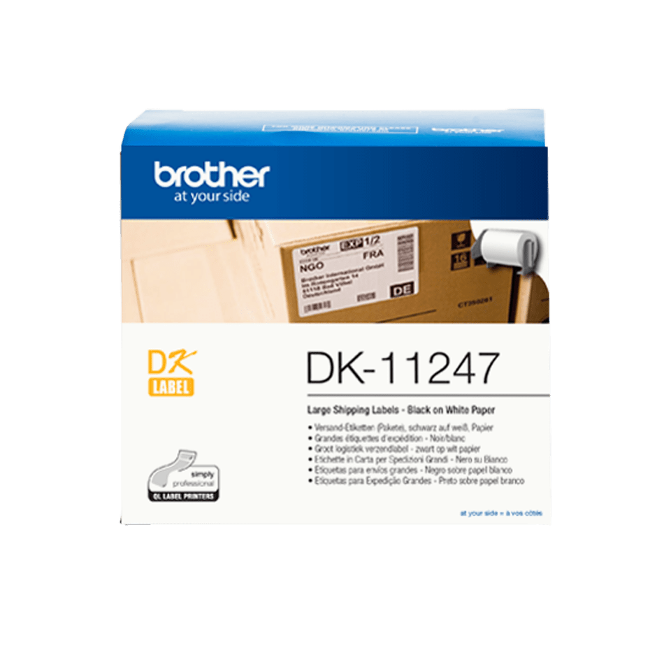 Originele Brother DK-11247 voorgestanst groot verzendlabel - zwart op wit, 103 mm x 164 mm