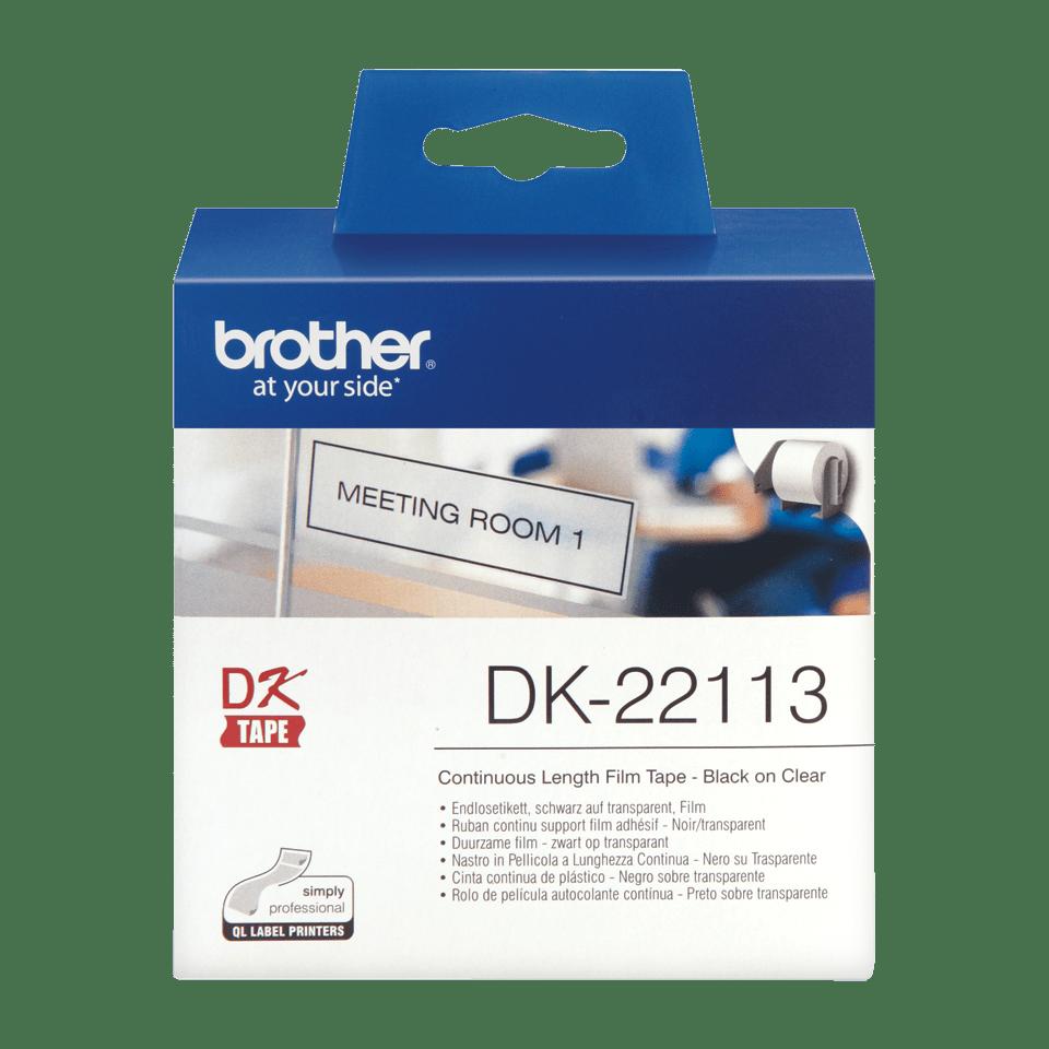 Originele Brother DK-22113 doorlopende labelrol – film - zwart op transparant, breedte 62 mm. 2