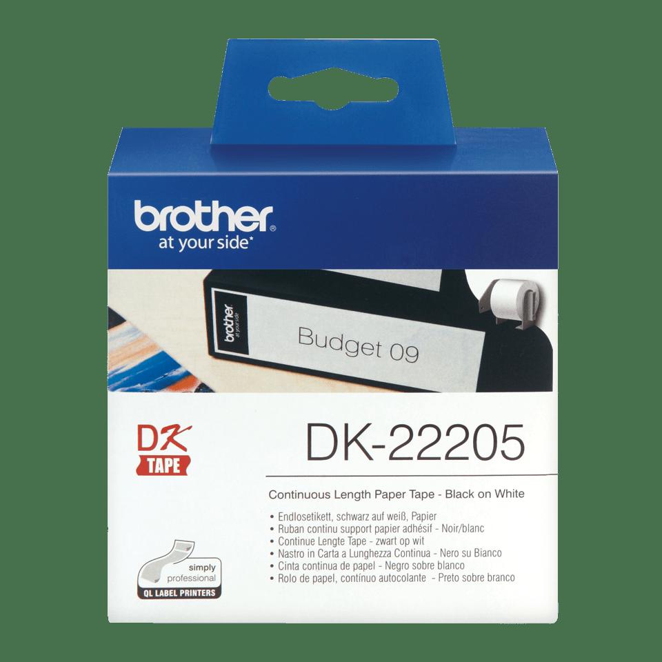 Originele Brother DK-22205 doorlopende labelrol - papier – zwart op wit, breedte 62 mm