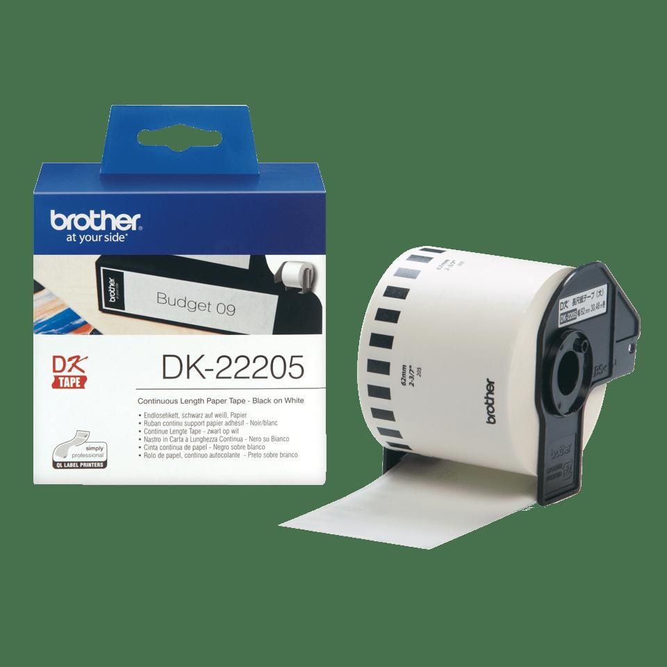 Originele Brother DK-22205 doorlopende labelrol - papier – zwart op wit, breedte 62 mm 3