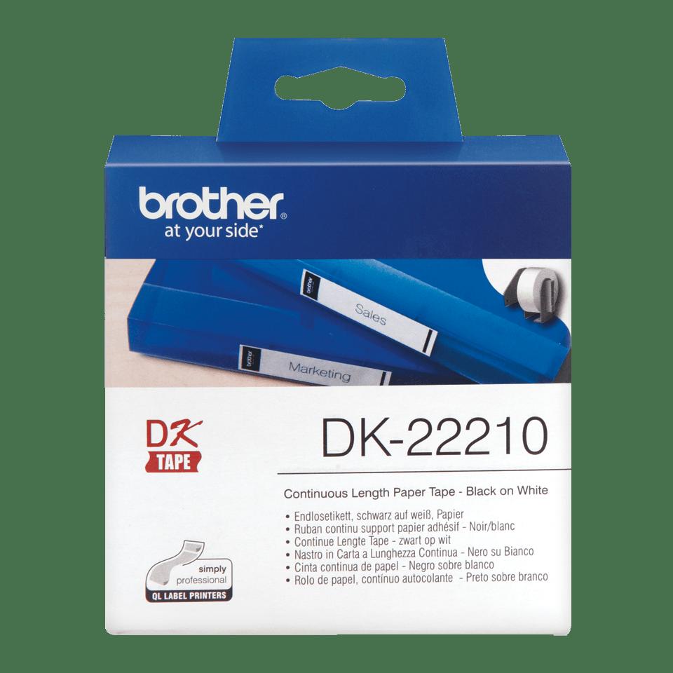 Originele Brother DK-22210 doorlopende labelrol – papier – zwart op wit, breedte 29 mm