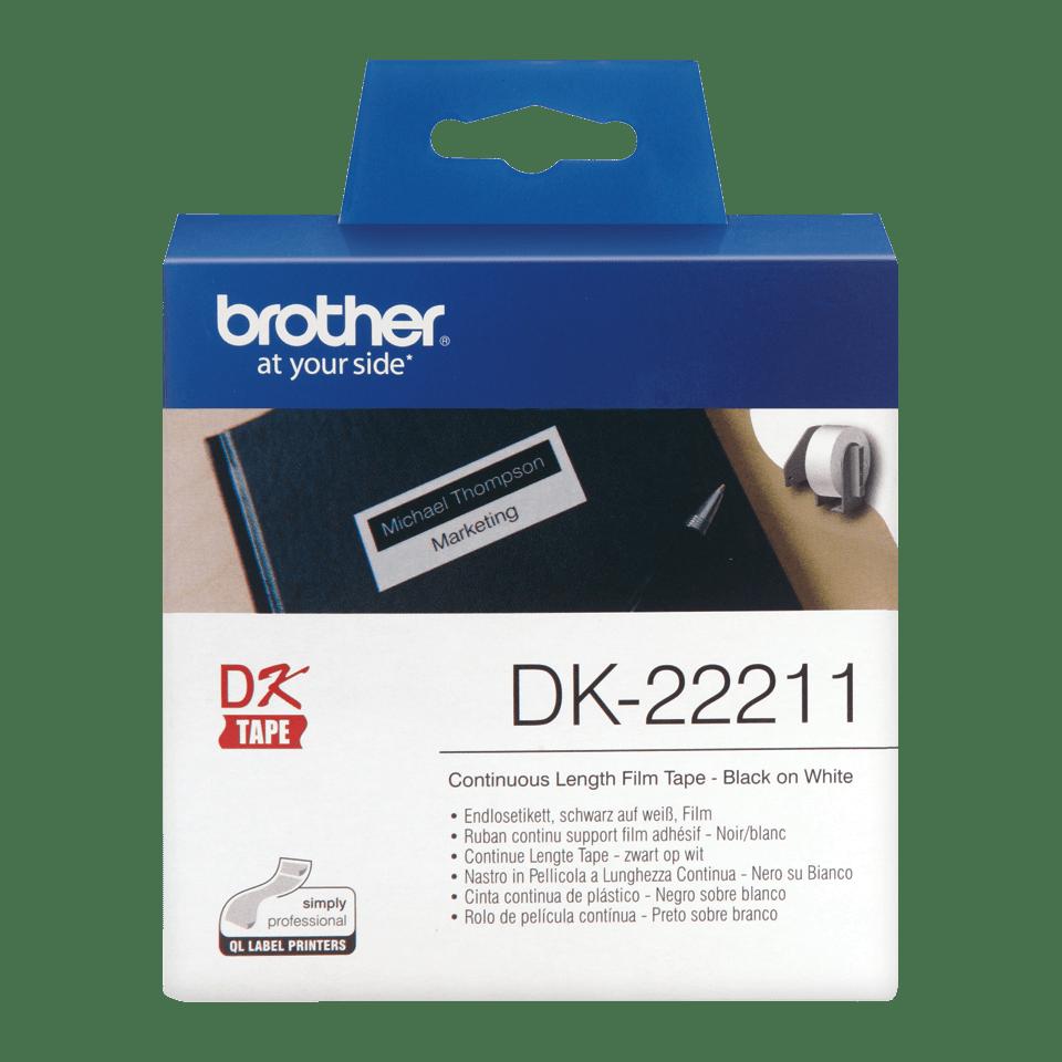 Originele Brother DK-22211 doorlopende labelrol – film - zwart op wit,  breedte 29 mm
