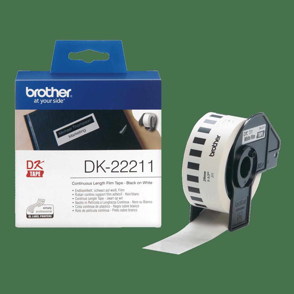 Originele Brother DK-22211 doorlopende labelrol – film - zwart op wit,  breedte 29 mm 3