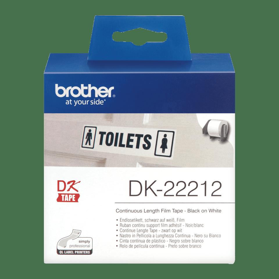 Originele Brother DK-22212 doorlopende labelrol – film -  zwart op wit, breedte 62 mm.