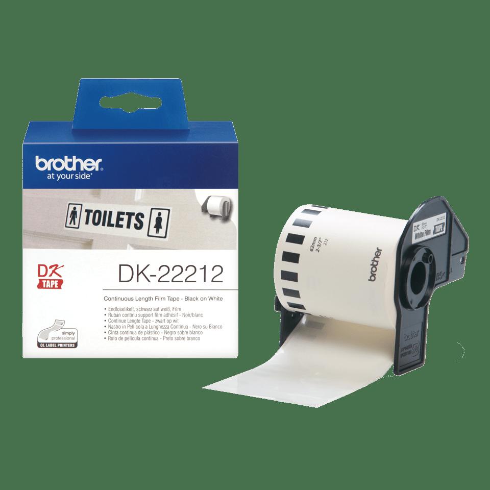 Originele Brother DK-22212 doorlopende labelrol – film -  zwart op wit, breedte 62 mm. 3