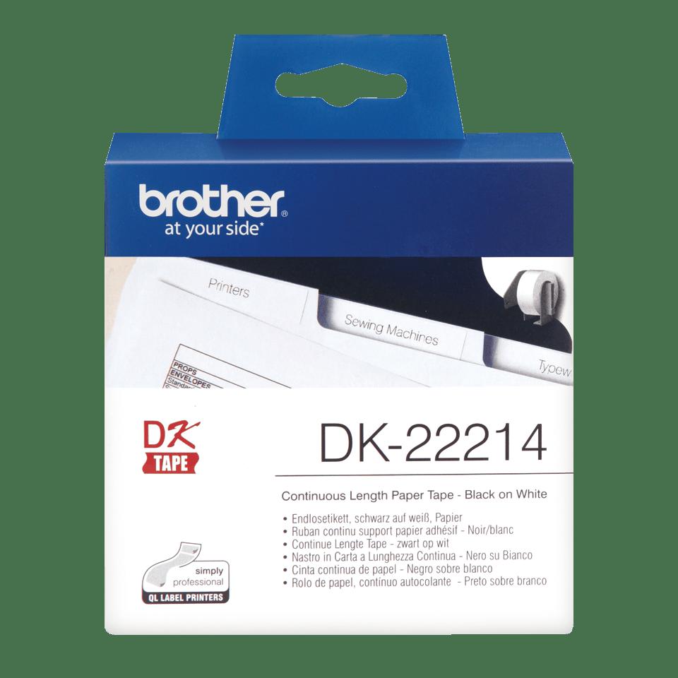 Originele Brother DK-22214 doorlopende labelrol - papier – zwart op wit, breedte 12 mm