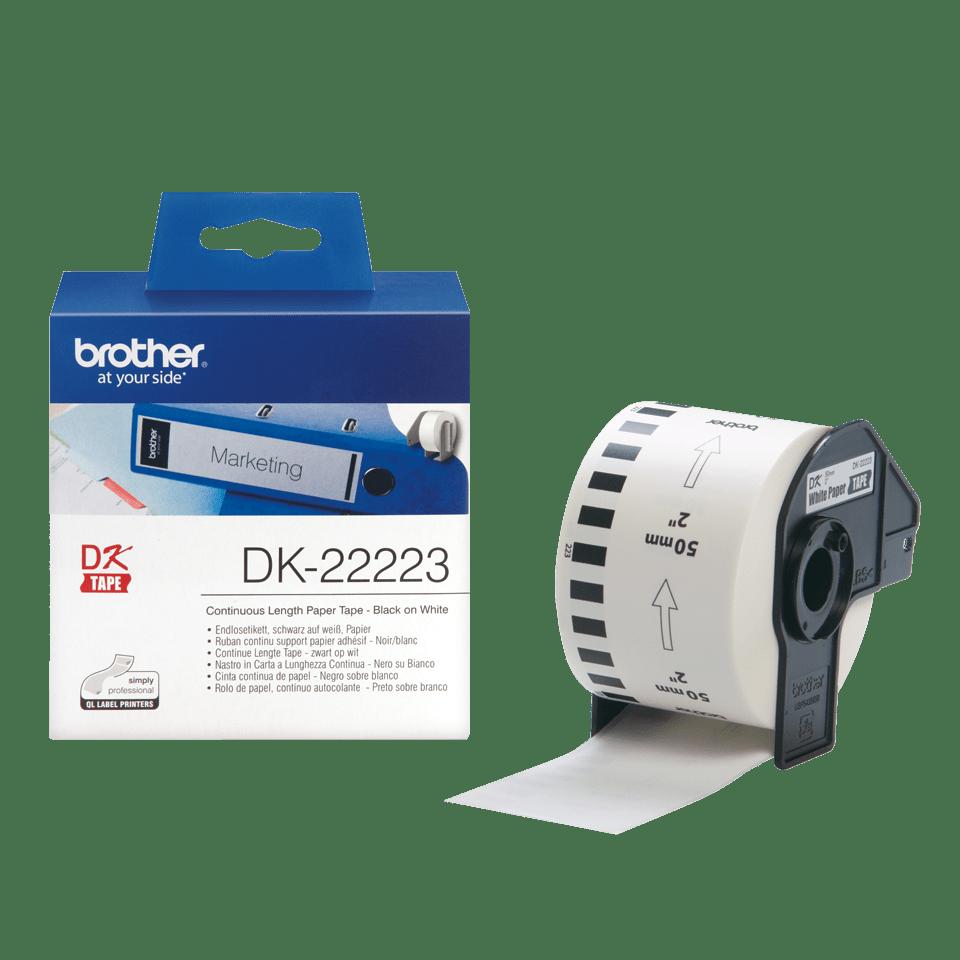 Originele Brother DK-22223 doorlopende labelrol - papier – zwart op wit, breedte 50 mm 3