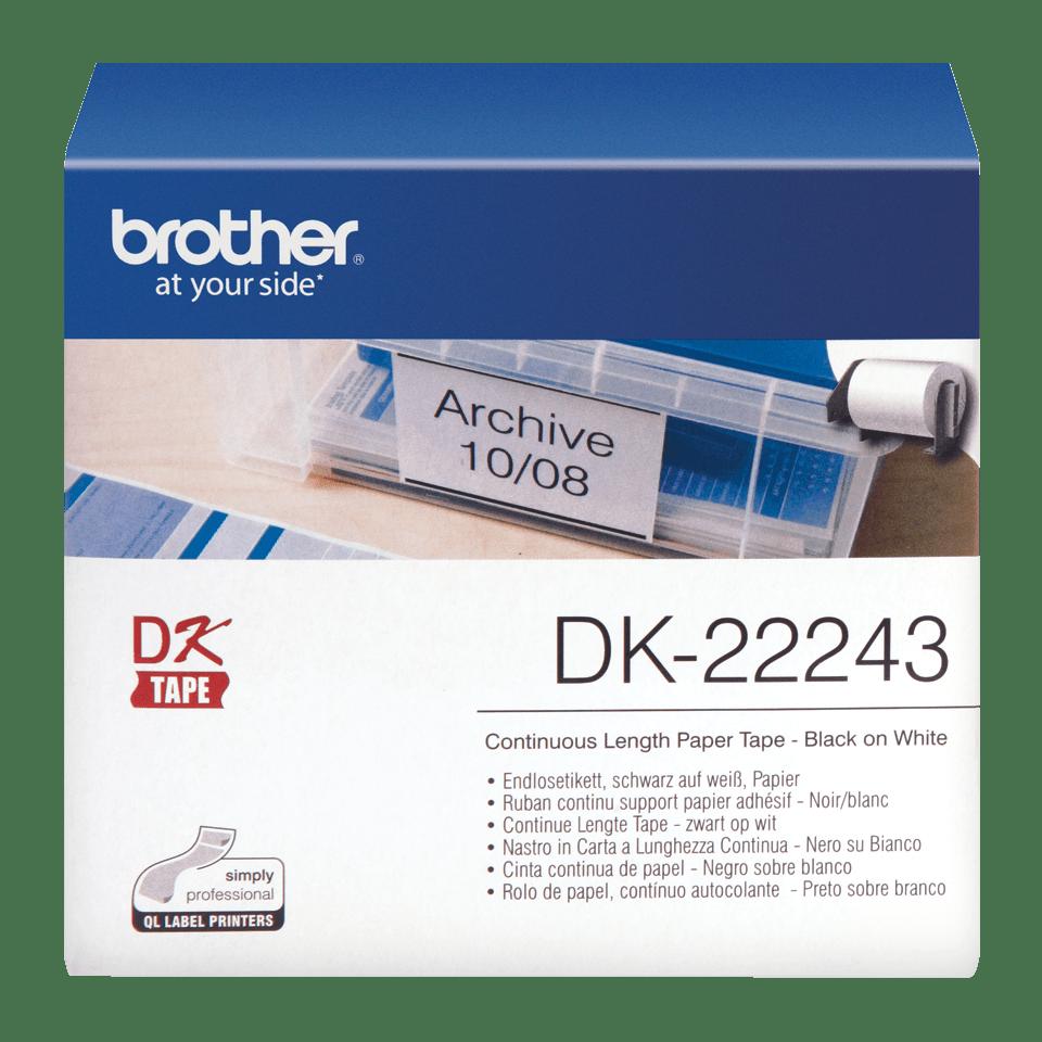 Originele Brother DK-22243 doorlopende labelrol - papier – zwart op wit, breedte 102 mm