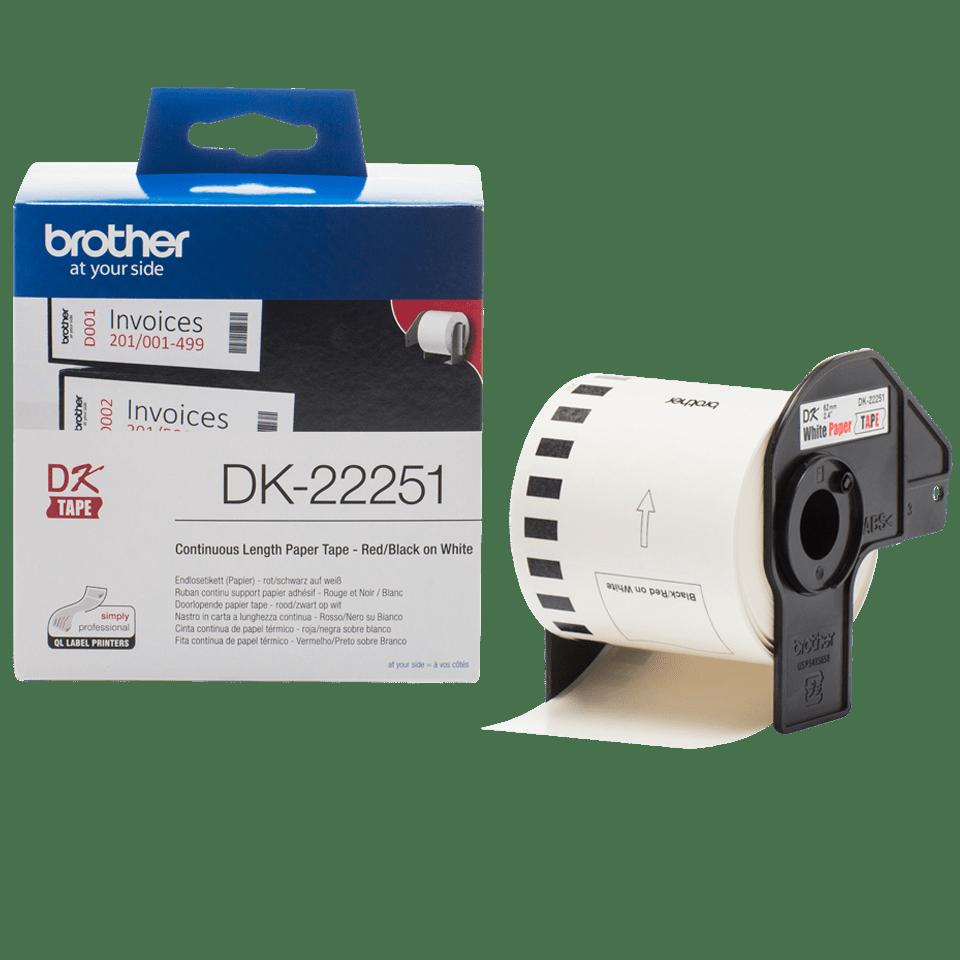 Originele Brother DK-22251 doorlopende labelrol -  papier – zwart en rood op wit, breedte 62 mm 3